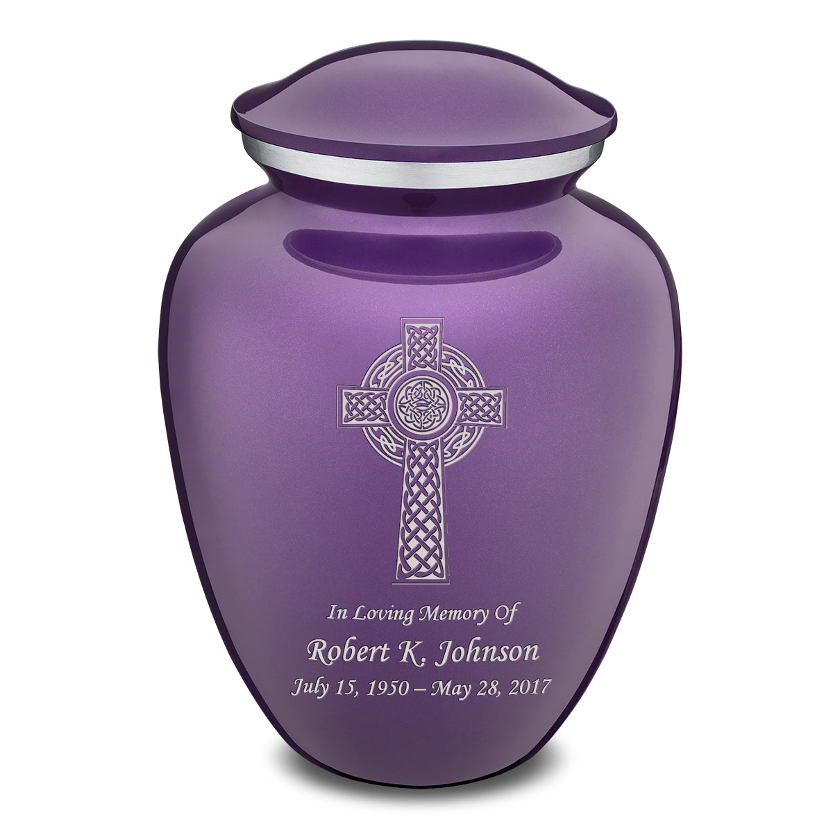 Adult Purple Embrace Celtic Cross Cremation Urn