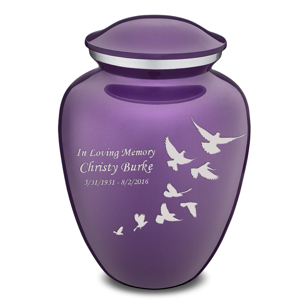 Adult Embrace Purple Doves Cremation Urn