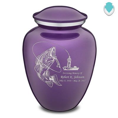 Adult Embrace Purple Fishing Cremation Urn