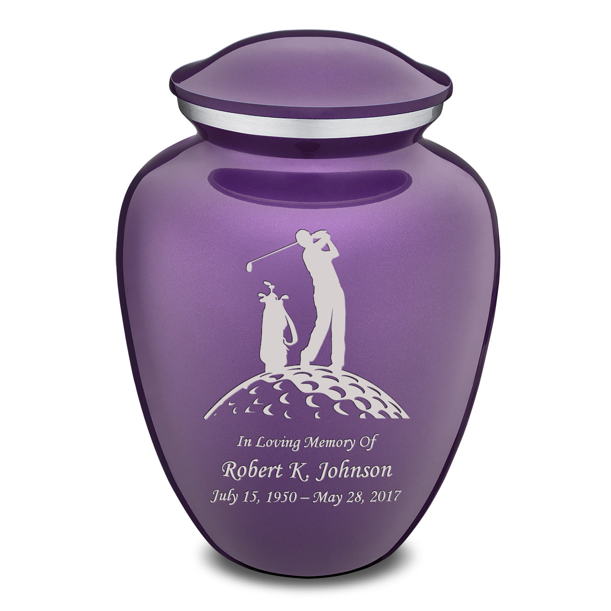 Adult Purple Embrace Golfer Cremation Urn