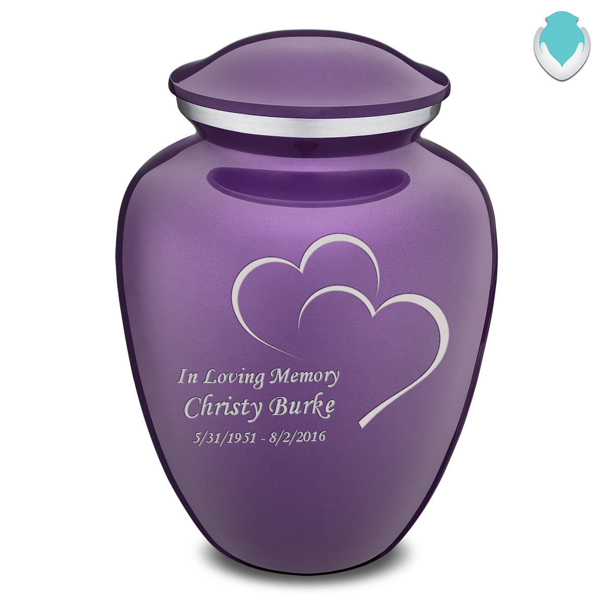 Adult Purple Embrace Hearts Cremation Urn