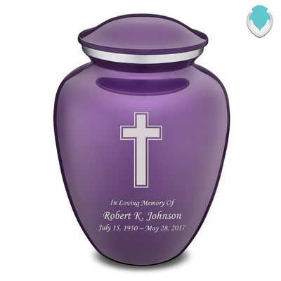 Adult Purple Embrace Simple Cross Cremation Urn