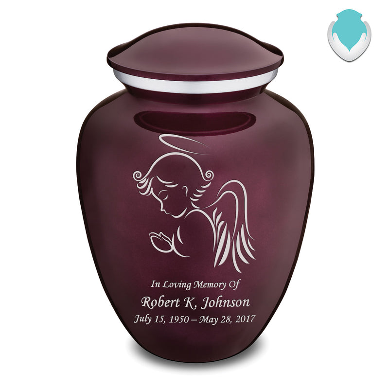 Adult Cherry Purple Embrace Angel Cremation Urn