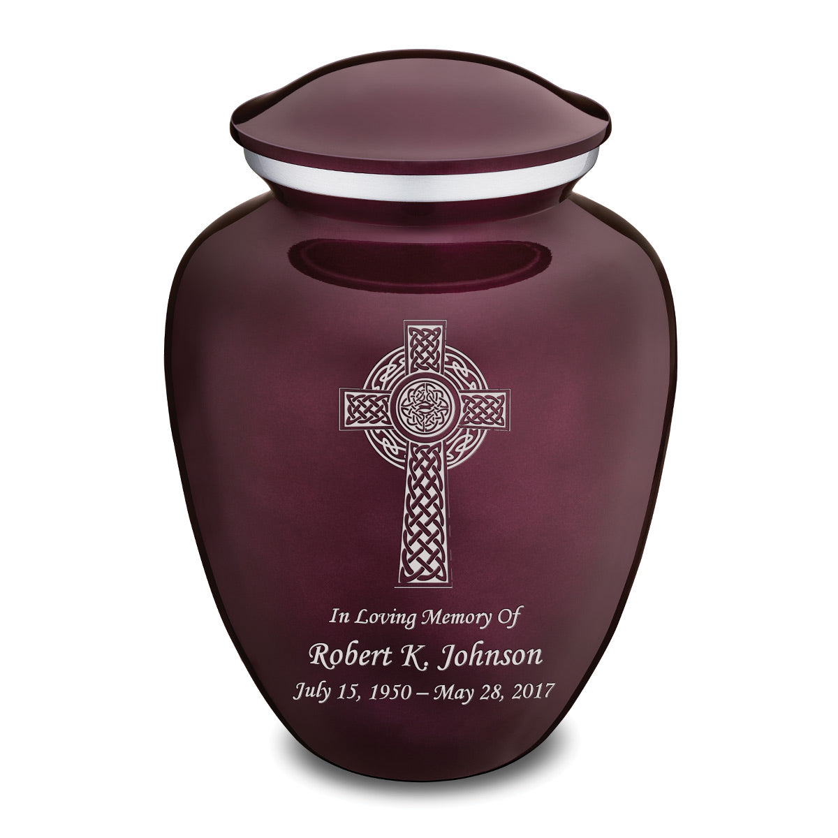 Adult Cherry Purple Embrace Celtic Cross Cremation Urn