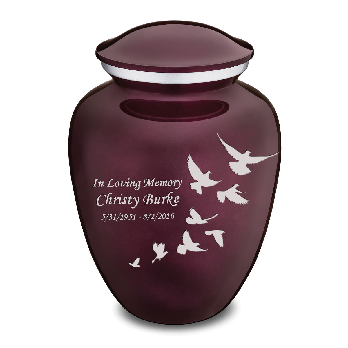 Adult Embrace Cherry Purple Doves Cremation Urn