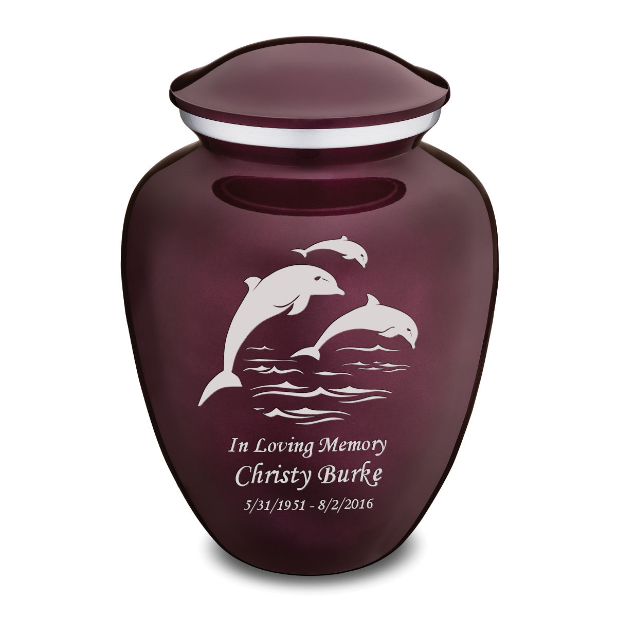 Adult Cherry Purple Embrace Dolphins Cremation Urn