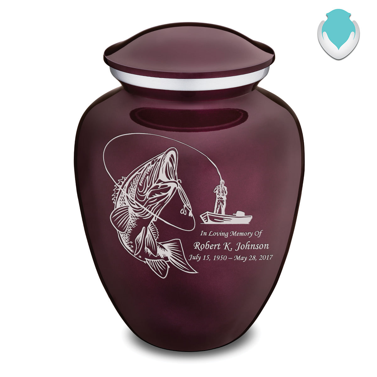 Adult Embrace Cherry Purple Fishing Cremation Urn