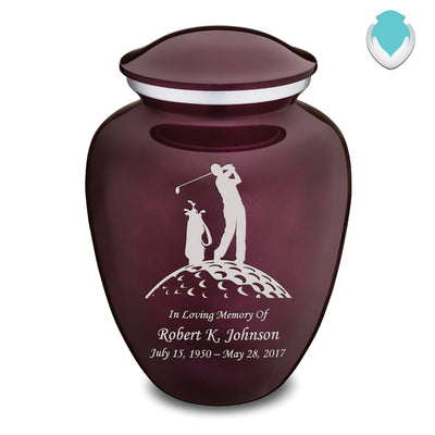 Adult Cherry Purple Embrace Golfer Cremation Urn