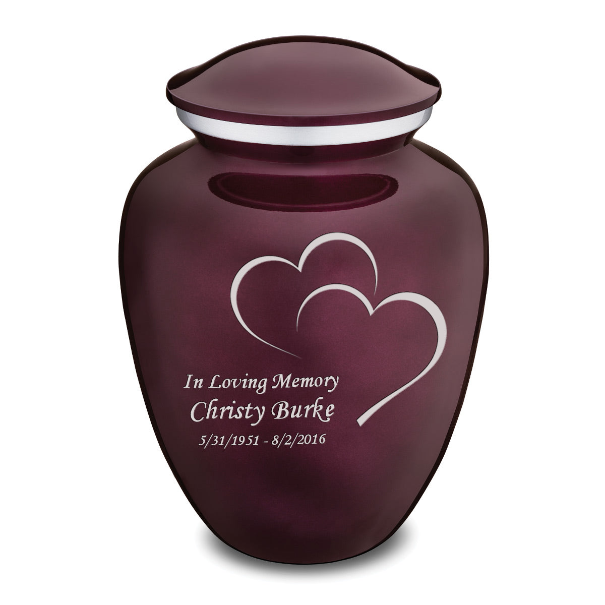 Adult Embrace Cherry Purple Hearts Cremation Urn