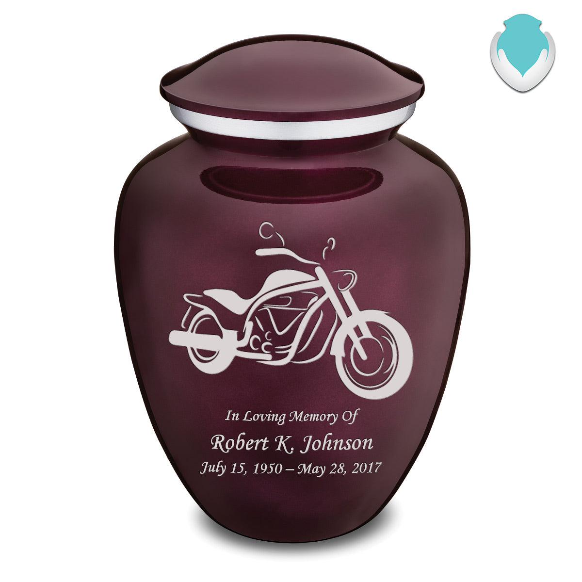 Adult Embrace Cherry Purple Motorcycle Cremation Urn