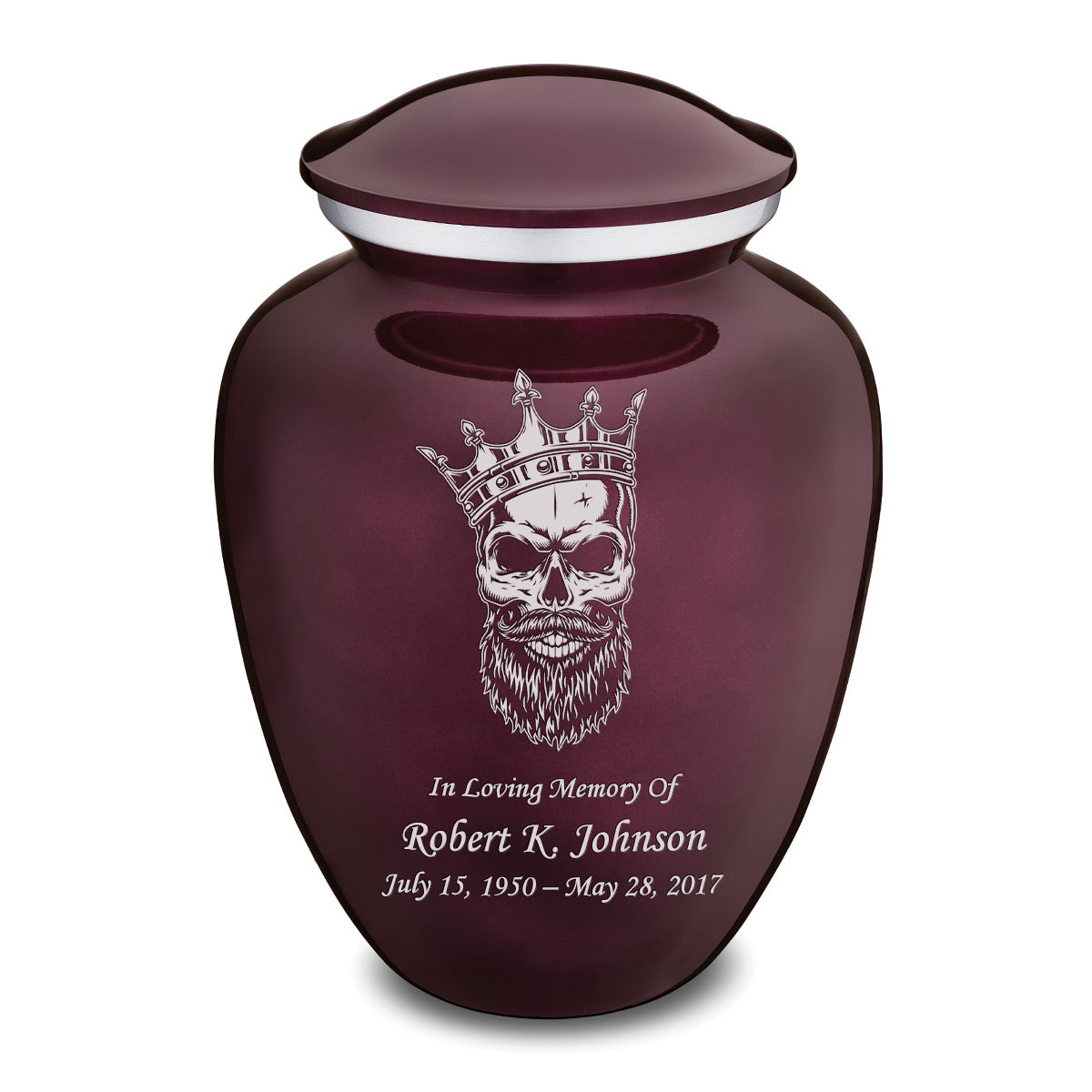 Adult Embrace Cherry Purple Skull Cremation Urn