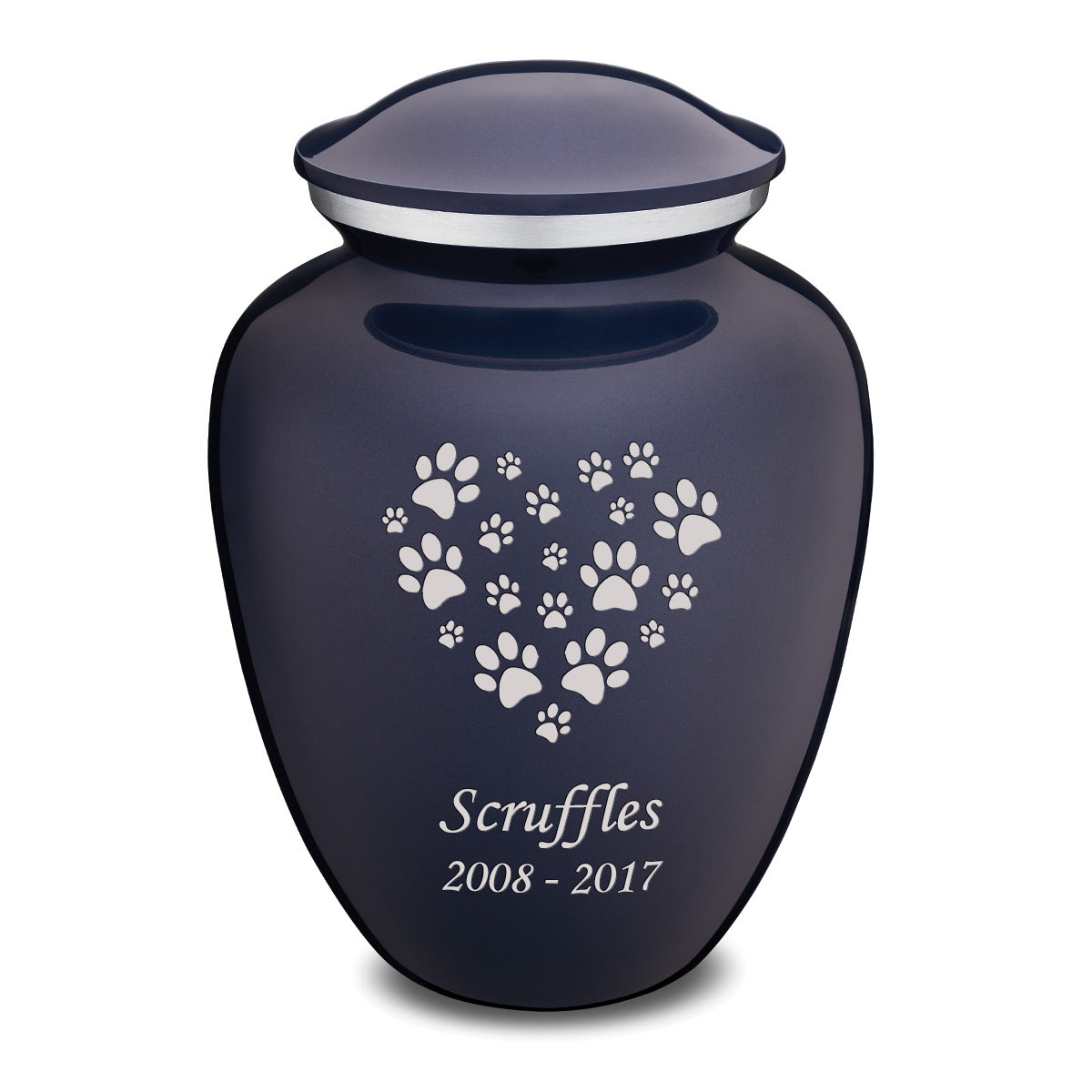 Large Embrace Cobalt Blue Heart Paws Pet Cremation Urn