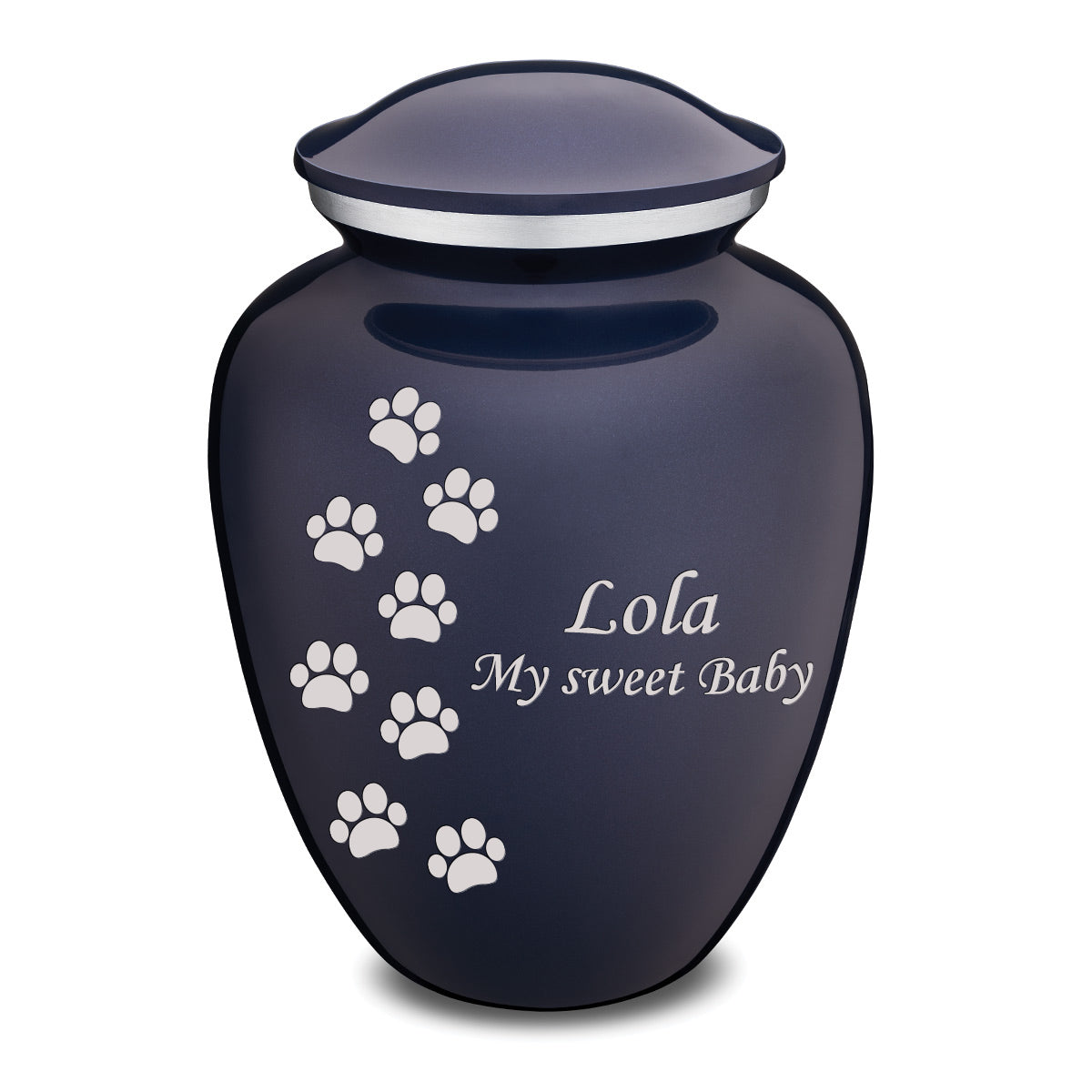 Large Embrace Cobalt Blue Walking Paws Pet Cremation Urn