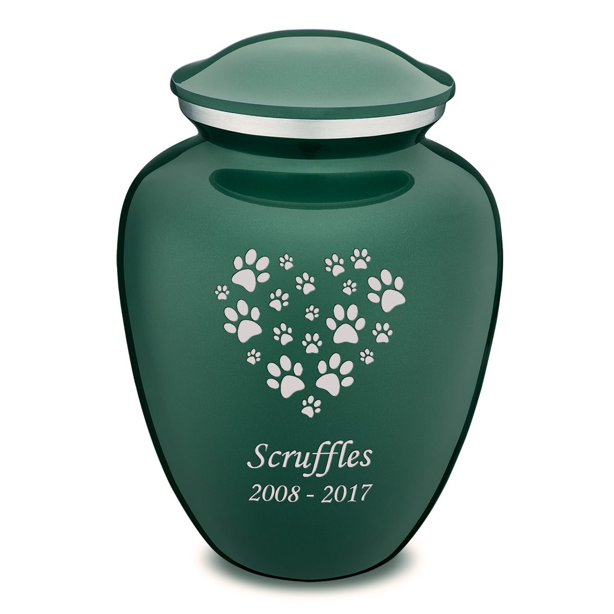 Large Embrace Green Heart Paws Pet Cremation Urn