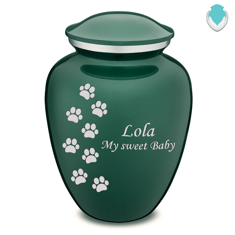 Large Embrace Green Walking Paws Pet Cremation Urn