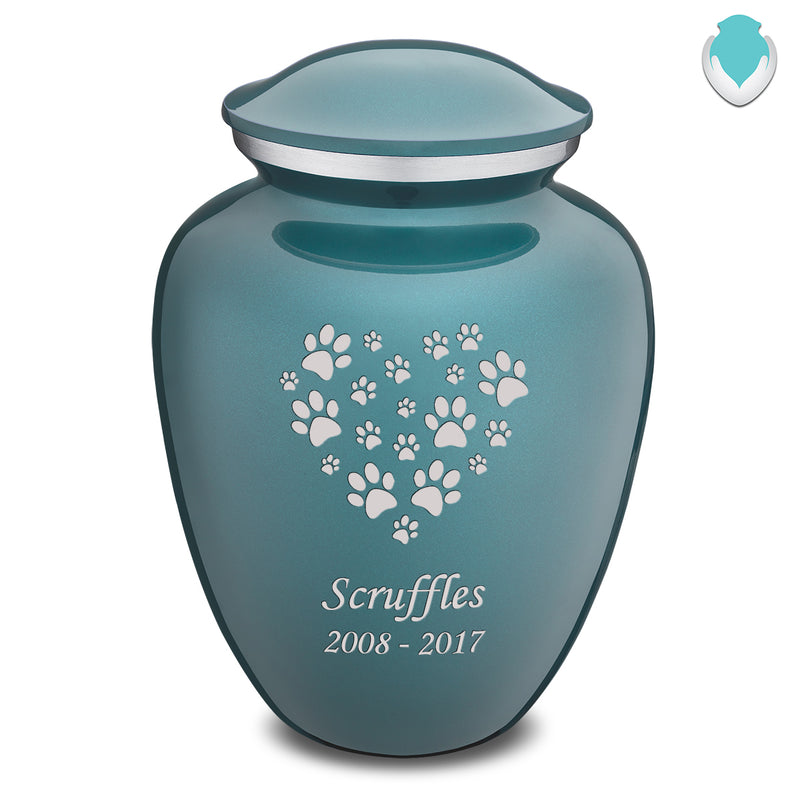 Large Embrace Teal Heart Paws Pet Cremation Urn