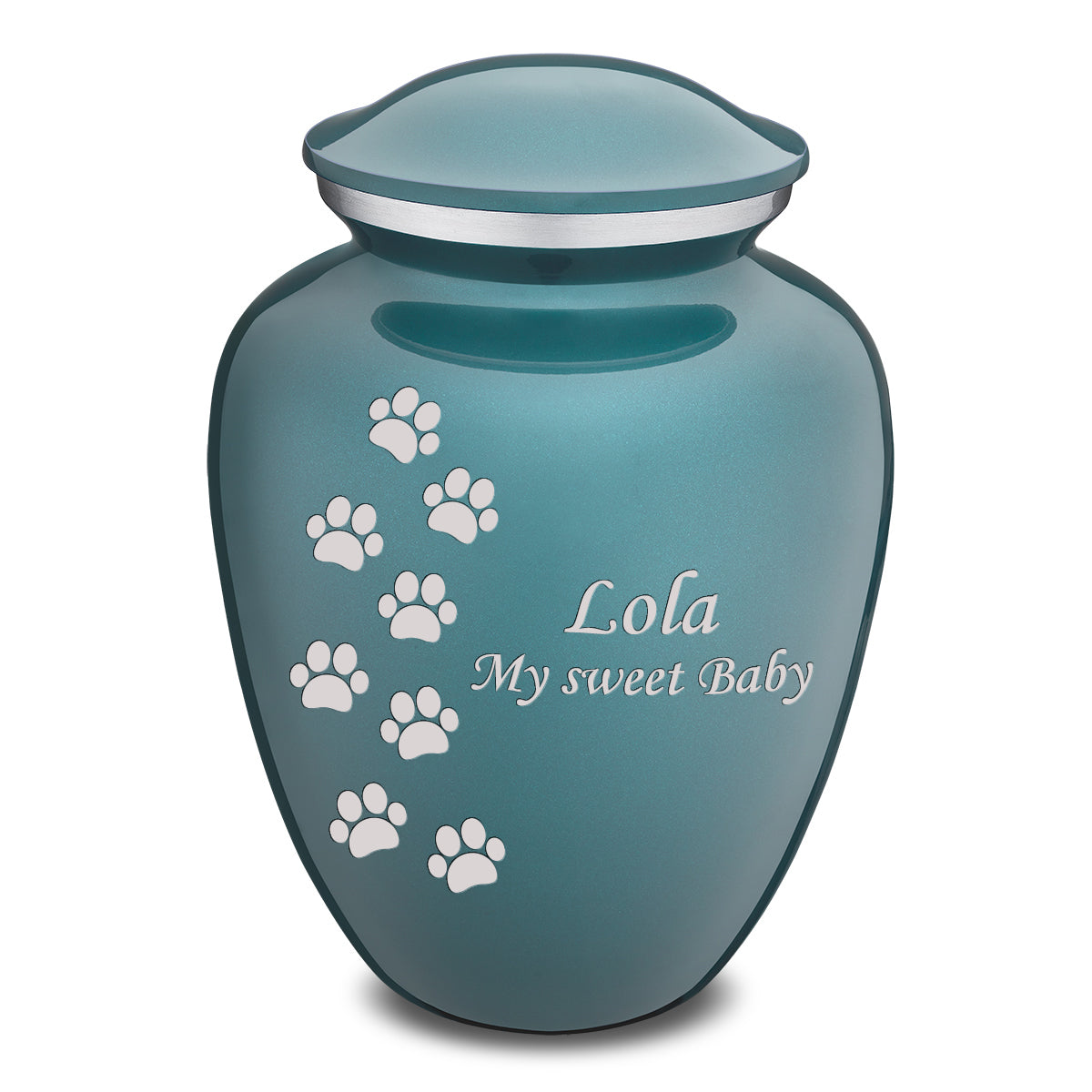 Large Embrace Teal Walking Paws Pet Cremation Urn