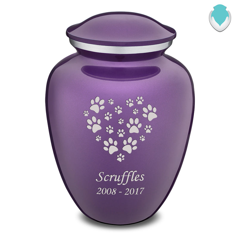 Large Embrace Purple Heart Paws Pet Cremation Urn