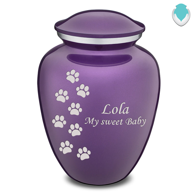 Large Embrace Purple Walking Paws Pet Cremation Urn