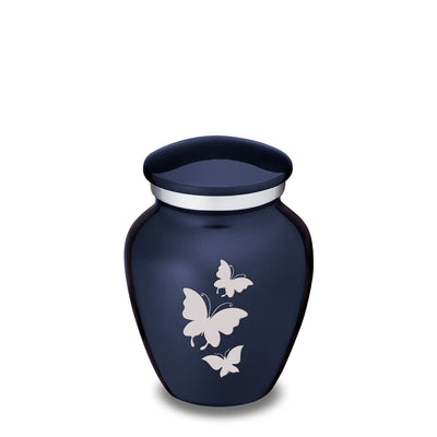 Keepsake Embrace Cobalt Butterflies Cremation Urn