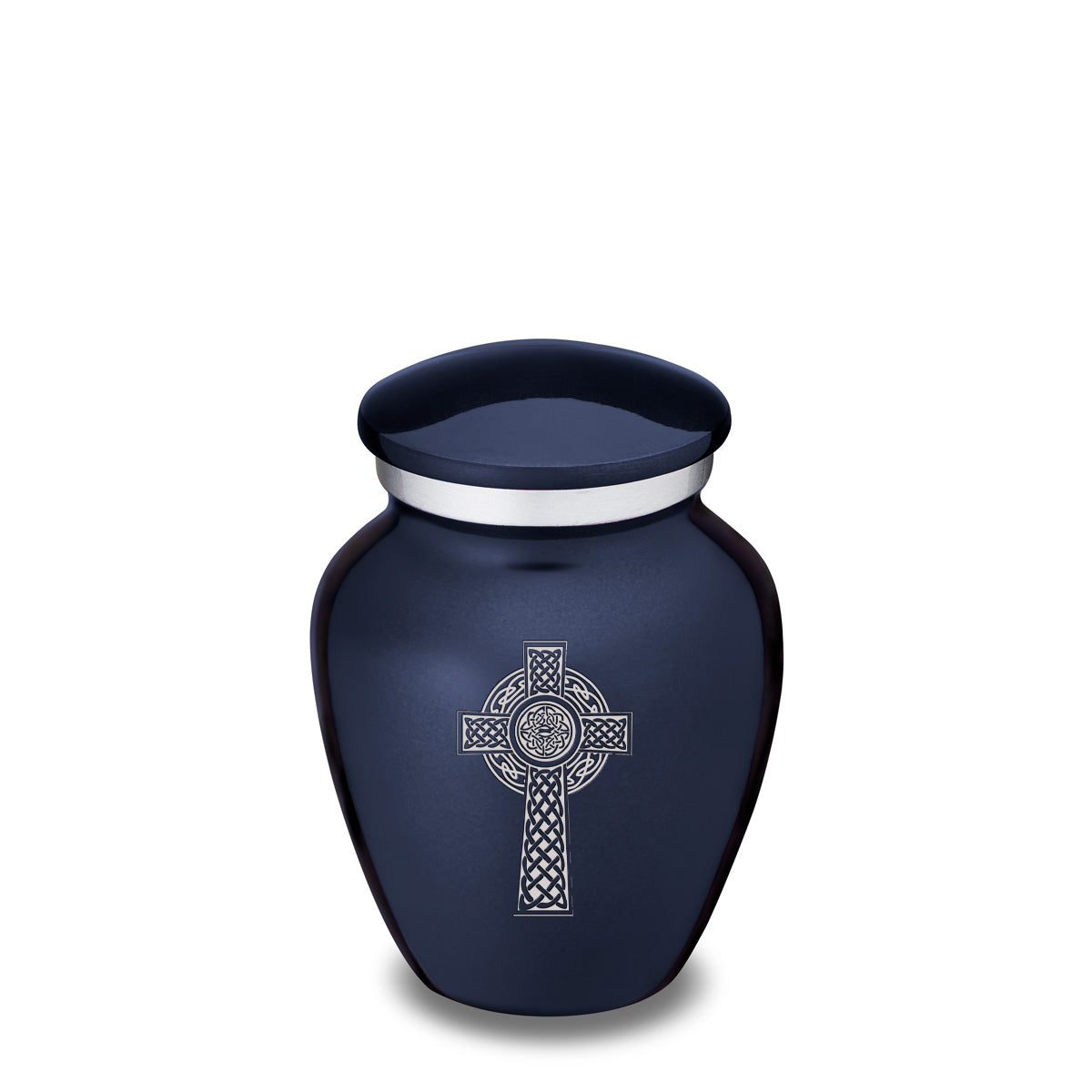 Keepsake Embrace Cobalt Blue Celtic Cross Cremation Urn