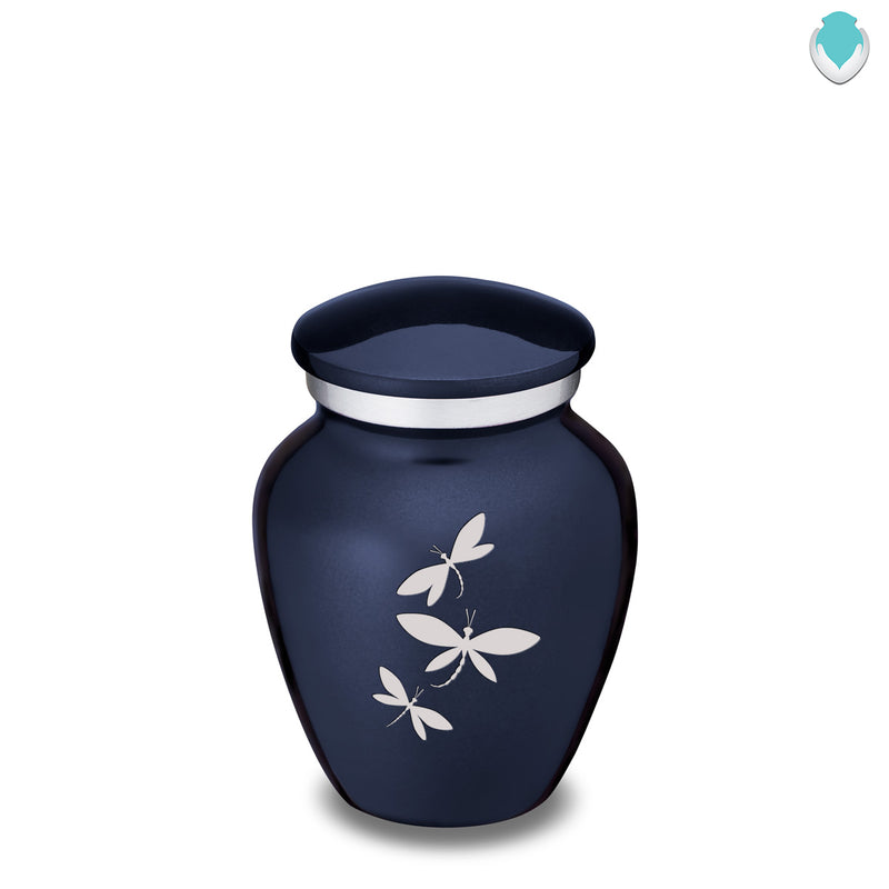 Keepsake Embrace Cobalt Blue Dragonflies Cremation Urn