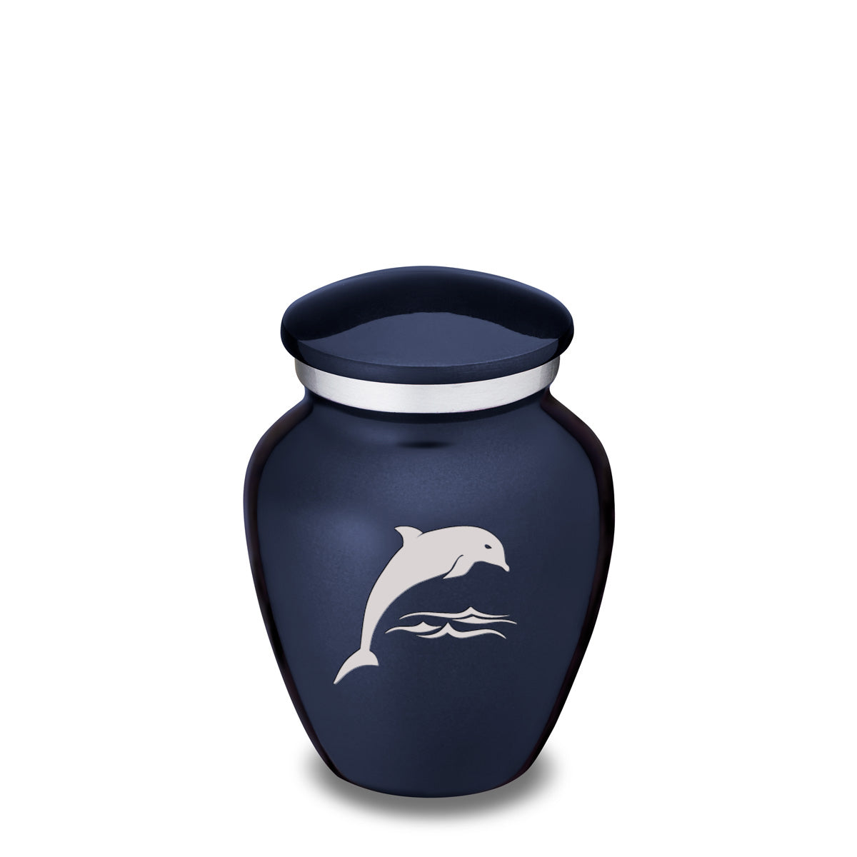 Keepsake Cobalt Blue Embrace Dolphin Cremation Urn