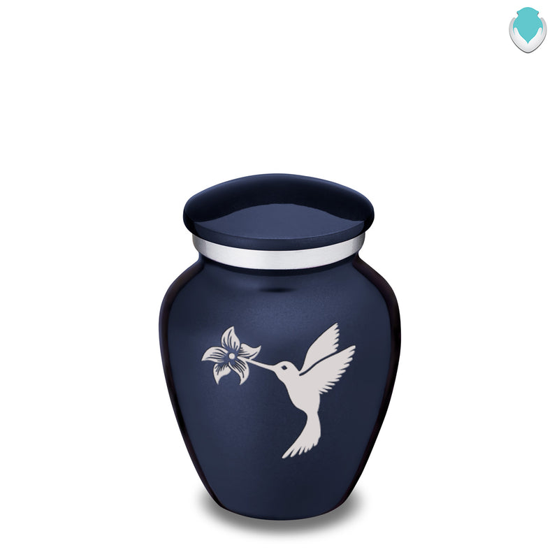 Keepsake Embrace Cobalt Blue Hummingbird Cremation Urn