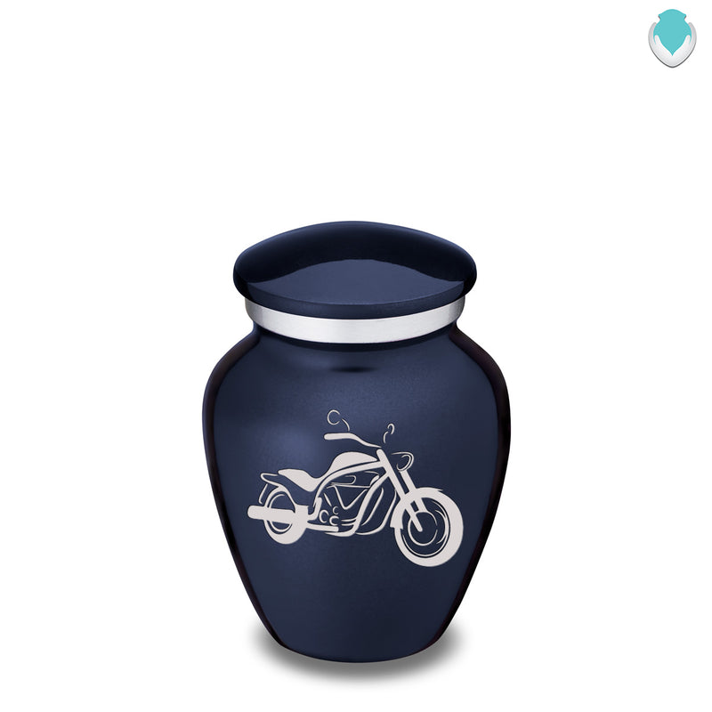 Keepsake Embrace Cobalt Blue Motorcycle Cremation Urn