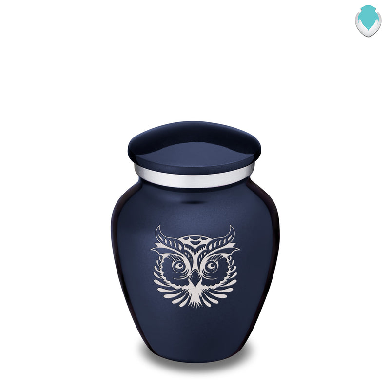 Keepsake Embrace Cobalt Blue Owl Cremation Urn