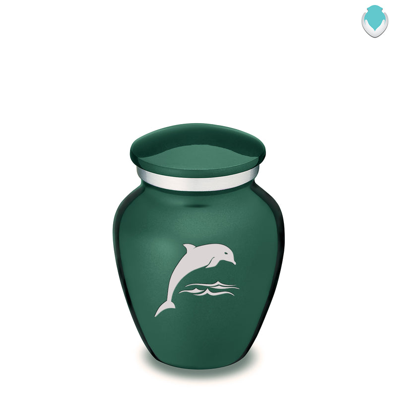Keepsake Green Embrace Dolphin Cremation Urn