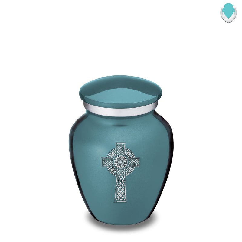 Keepsake Embrace Teal Celtic Cross Cremation Urn