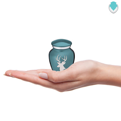 Keepsake Embrace Teal Deer Cremation Urn