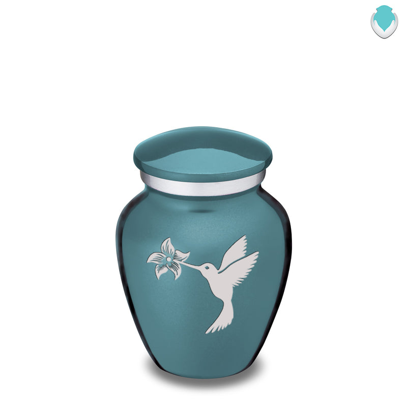 Keepsake Embrace Teal Hummingbird Cremation Urn