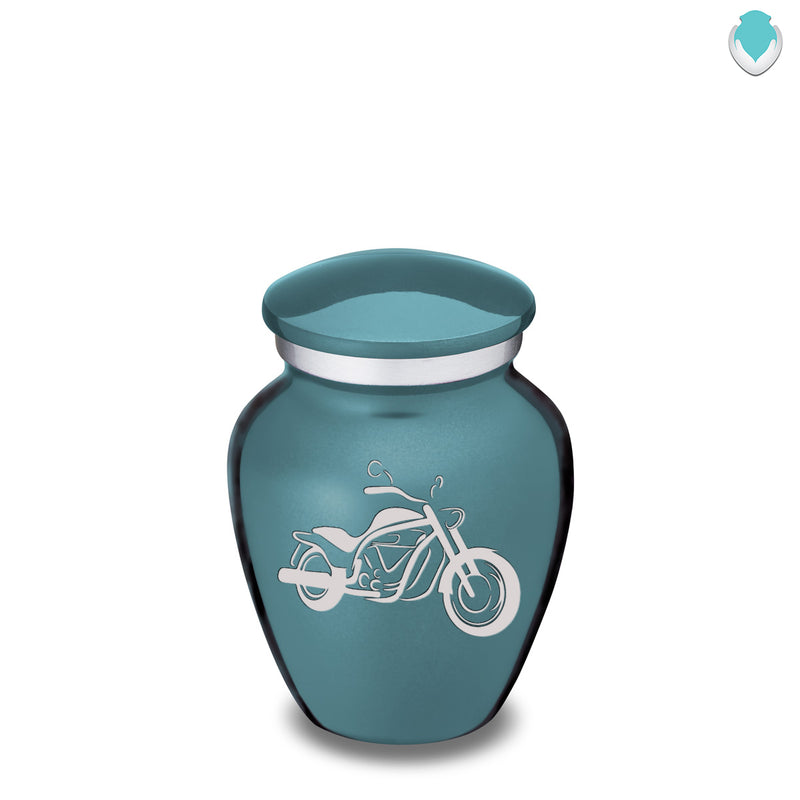 Keepsake Embrace Teal Motorcycle Cremation Urn