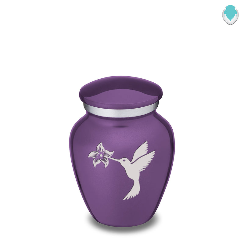 Keepsake Embrace Purple Hummingbird Cremation Urn