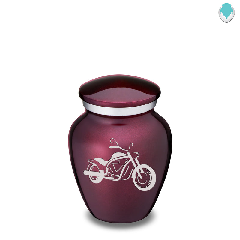 Keepsake Embrace Cherry Purple Motorcycle Cremation Urn