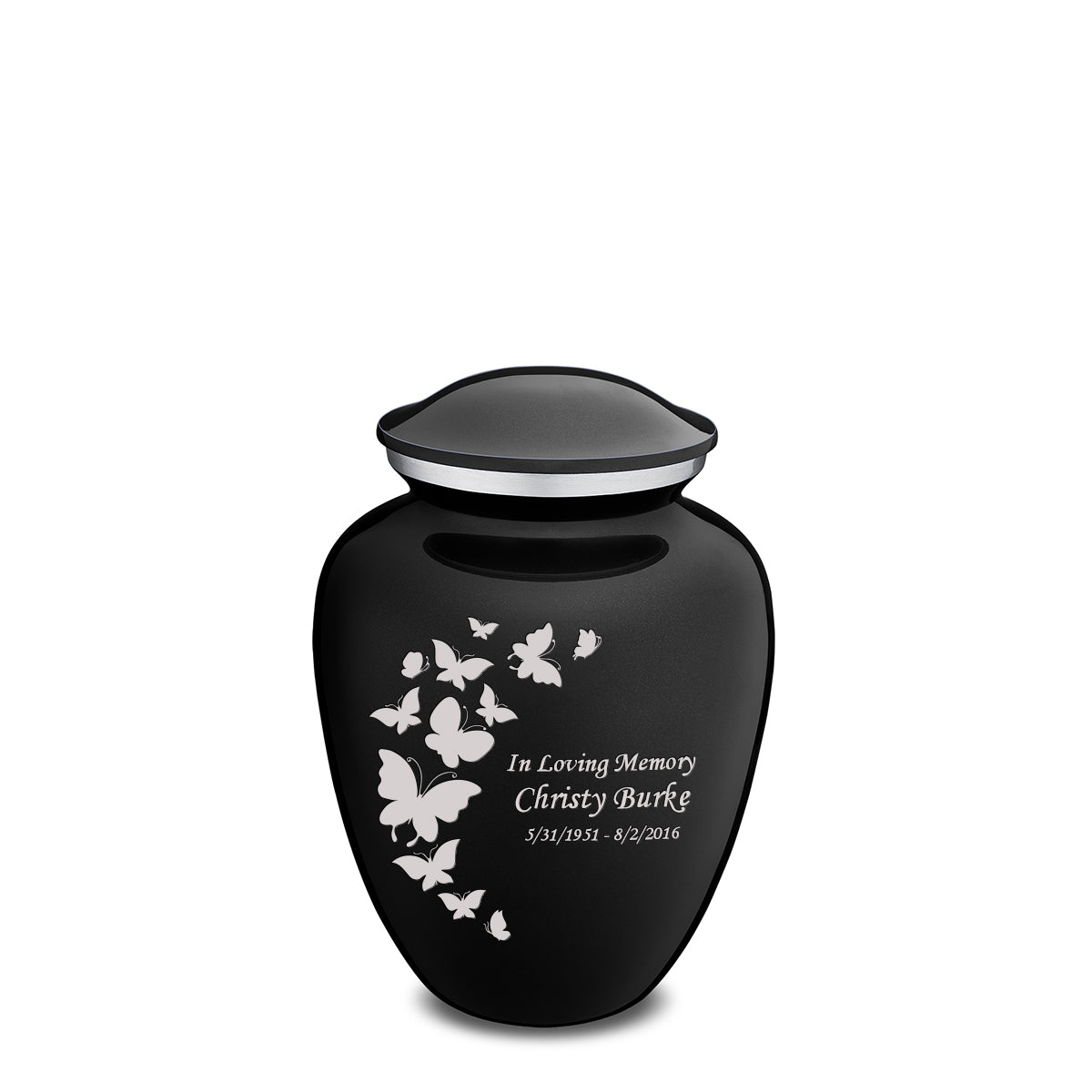 Medium Embrace Black Butterfly Cremation Urn