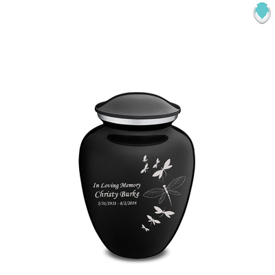 Medium Embrace Black Dragonflies Cremation Urn