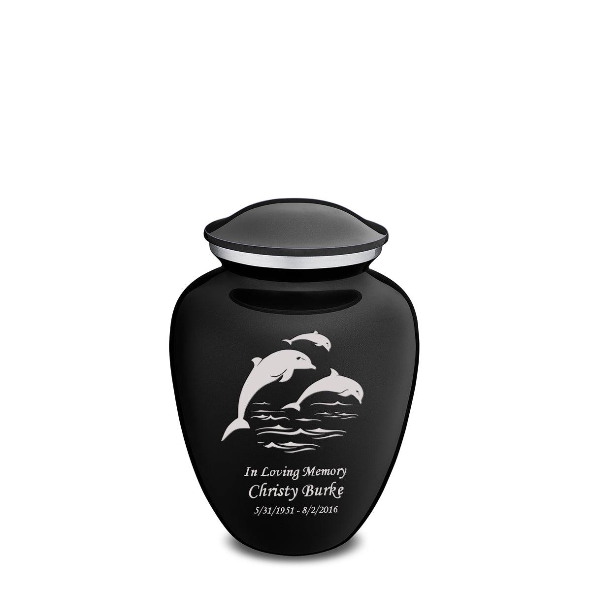 Medium Black Embrace Dolphins Cremation Urn
