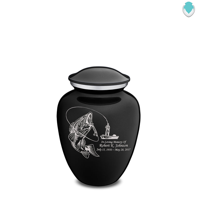 Medium Black Embrace Fishing Cremation Urn