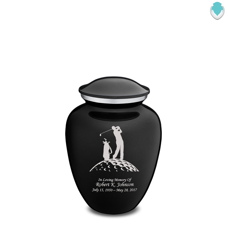 Medium Black Embrace Golfer Cremation Urn