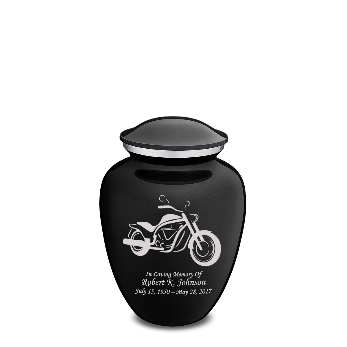 Medium Embrace Black Motorcycle Cremation Urn