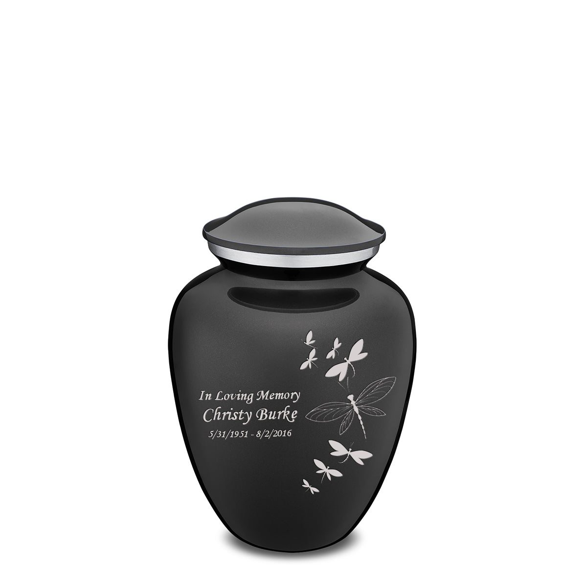 Medium Embrace Charcoal Dragonflies Cremation Urn