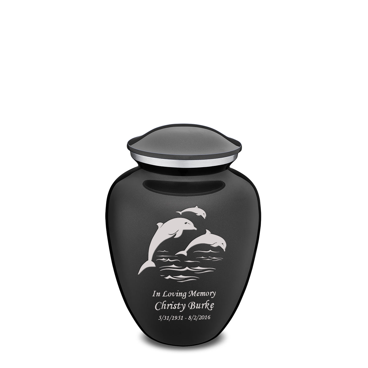 Medium Charcoal Embrace Dolphins Cremation Urn