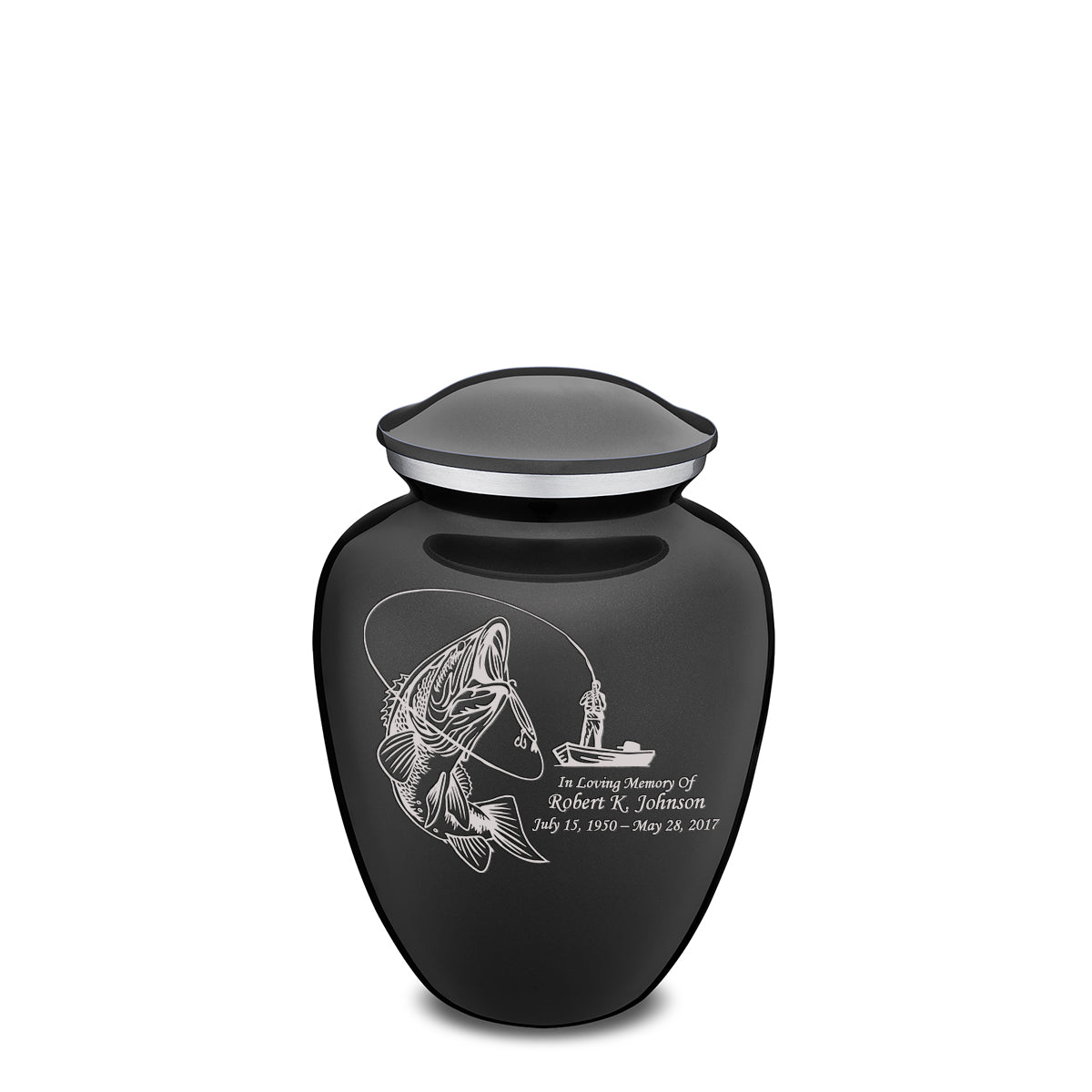 Medium Charcoal Embrace Fishing Cremation Urn