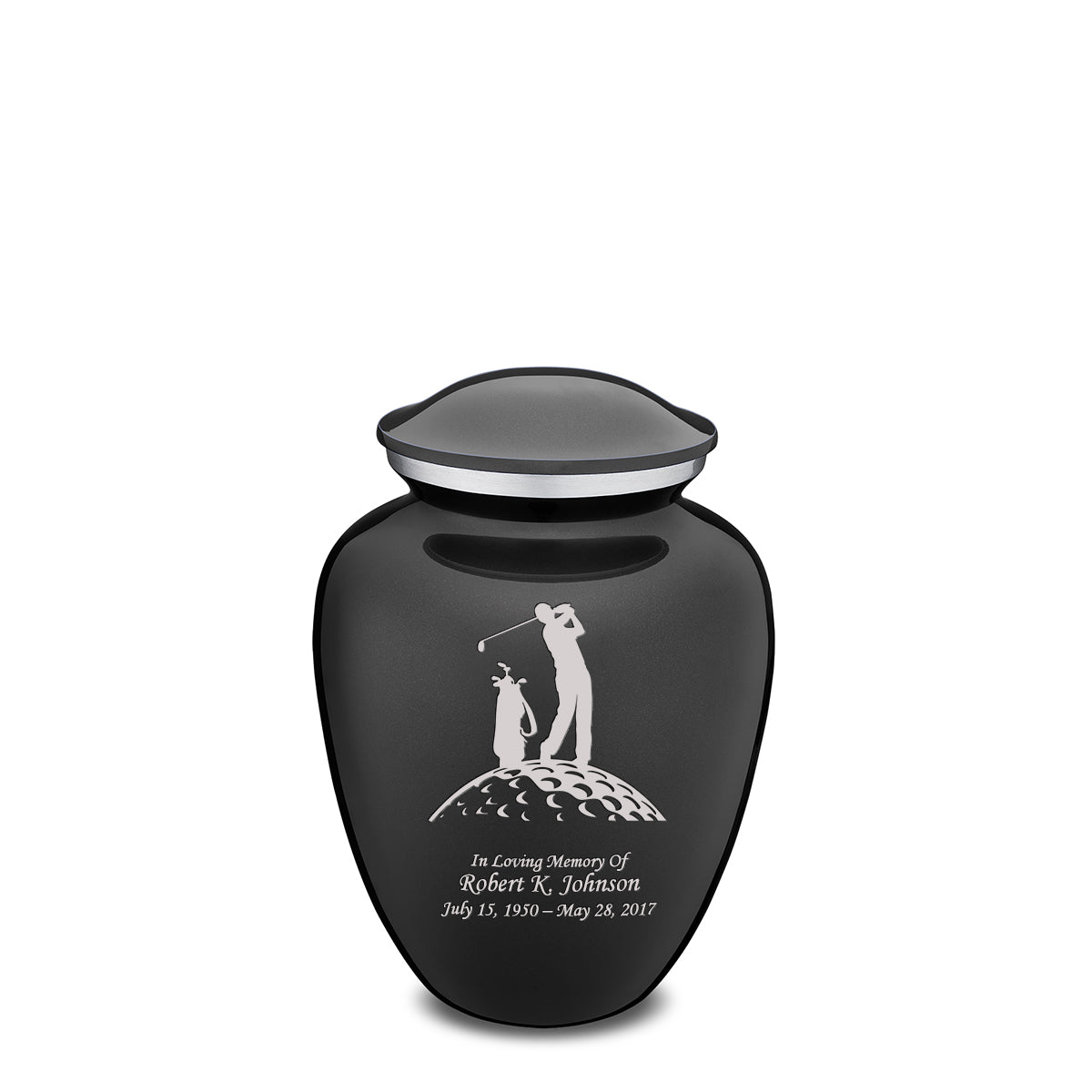 Medium Charcoal Embrace Golfer Cremation Urn