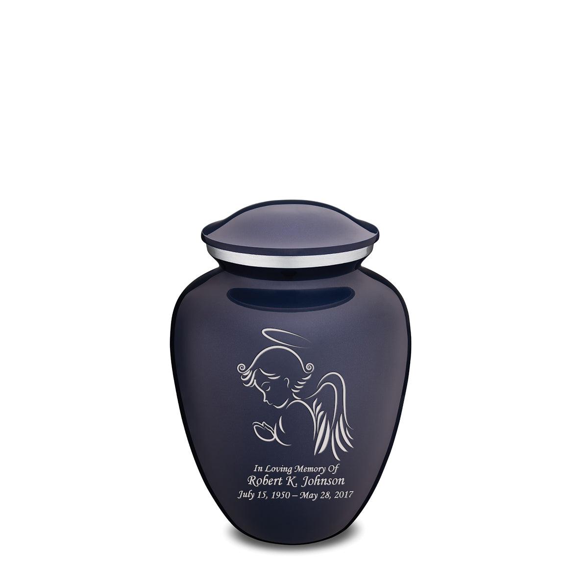 Medium Cobalt Blue Embrace Angel Cremation Urn