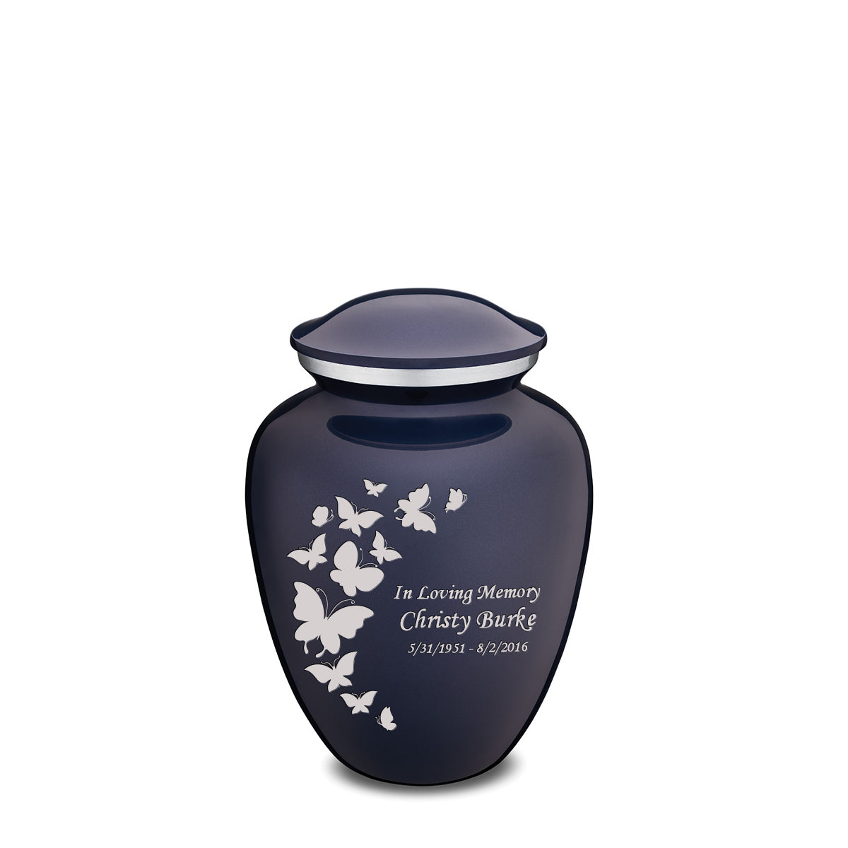 Medium Embrace Cobalt Butterfly Cremation Urn