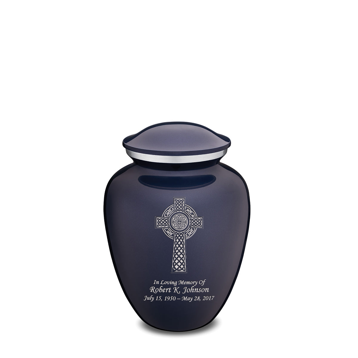 Medium Embrace Cobalt Blue Celtic Cross Cremation Urn